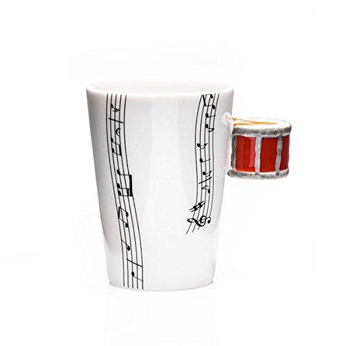 Vetrineinrete® tazza in ceramica con manico a disegno di tamburo rosso in scatola regalo 200 ml percussioni a11