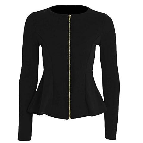 Ladies Womens Tailored Zip Up Ladies Casual Office Party Wear Long Sleeves Peplum Ruffle Frill Jacket Blazer Coat Top 8-24 (UK 24,
