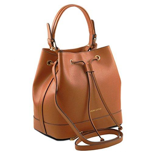 Tuscany Leather Minerva Borsa secchiello da donna in pelle Saffiano Cognac Cognac