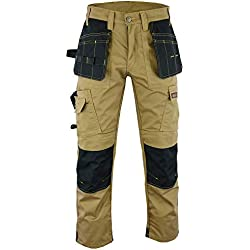 Wright Wears Hommes's Pro Gris et Kaki Pantalons de Travail Pantalons Cordura Genou Travail Pantalons Cargo Combat Travailleur Tailles comme DewaltFR: 38/S (30W/29L Taille Fabrication)