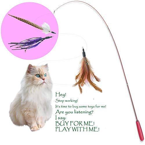 beaulyn Katzenspielzeug, interaktives Federn, einziehbar, mit 3 Ersatzfedern