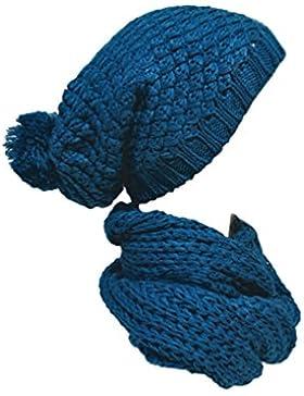 2er Set Mütze Und Schal Strickmütze Ballon Wintermütze Ballonmütze Long Beanie viele Farben Mod.43