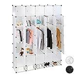 Relaxdays XXL Kleiderschrank Stecksystem, 25 Fächer, 5 Kleiderstangen, Schlafzimmerschrank HxB 234x180 cm, transparent