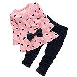 ARAUS Completini e Coordinati da Neonata Bimba di Cotone Magliette e Pantaloni Due Pezzi 0-3 Anni
