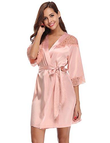 Aibrou Damen Einfarbige Spitze Satin Kimono Morgenmantel Kurz Robe Nachtwäsche Sleepwear V...