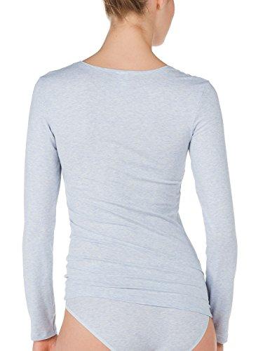 CALIDA Top Langarm/ 3/4 Arm Comfort, Haut de Pyjama Femme Bleu - Blau (air melé 421)