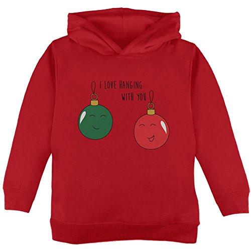 Ich hängen mit Ihnen Ornament Wortspiel Kleinkind Liebe Weihnachten Hoodie rot 4 t (Vier Weihnachts-ornament)