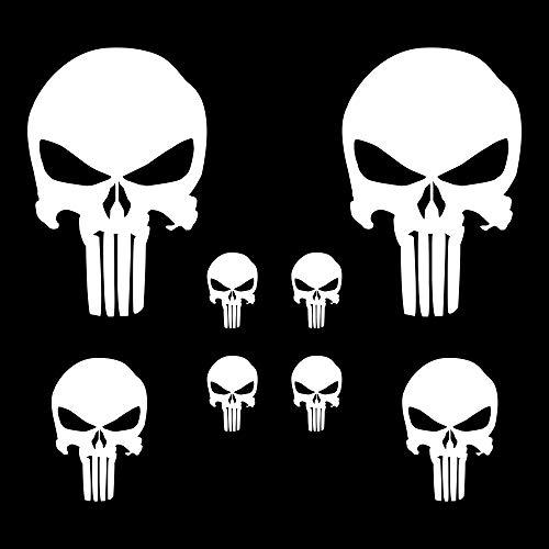 (Autodomy Punisher Skull Aufkleber Paket 8 Stück für Auto oder Motorrad (Weiß))