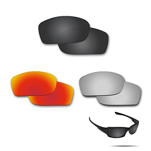 fiskr anti-saltwater Polarisierte Ersatz Gläser für Oakley Fives Squared 3 Paar Pack, Stealth Black & Metallic Silver & Fire Red