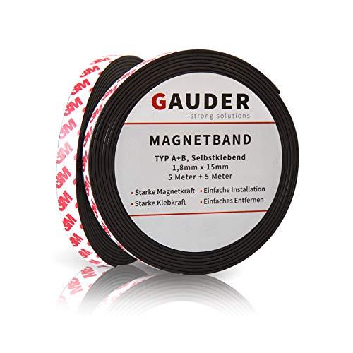 GAUDER Typ A + B Magnetband selbstklebend I Fliegengitter I Magnetklebeband I Magnetklebestreifen I Magnetisches Klebeband I Magnetstreifen