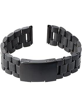 SODIAL(R)22 mm Armbanduhr Ersatz Stahl Schwarz Armbanduhrband