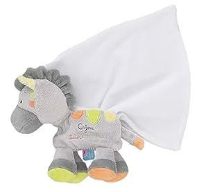 Sucre D'Orge - ToysAndGames - Mixte - cajou®, doudou mouchoir zebre - Taille UNIQUE - Couleur gris