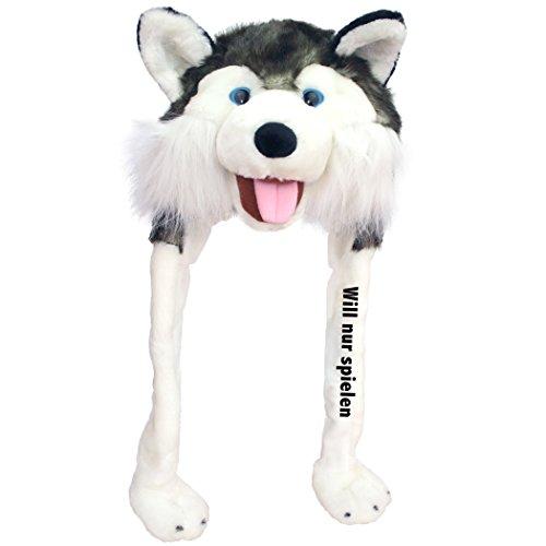 Geschenke mit Namen Plüschmütze Husky WILL NUR SPIELEN  Einheitsgröße für Erwachsene, kuschelig weich (Halloween Namen Karneval Spiele)
