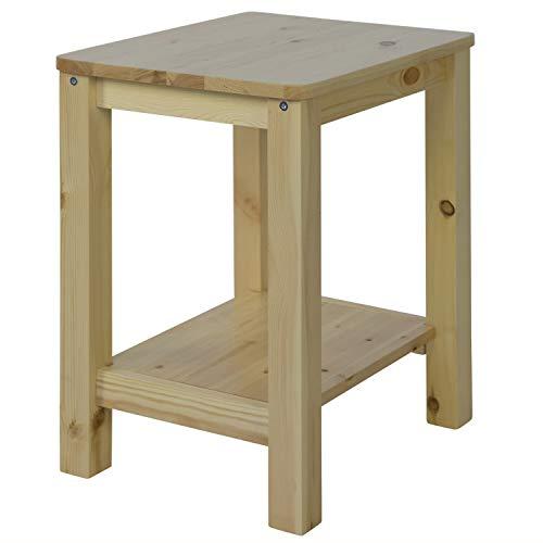 Homestyle4u 1826, Nachttisch Natur, Beistelltisch Holz Kiefer mit 2 Ablagen - Schlafzimmer Lackiert Beistelltisch