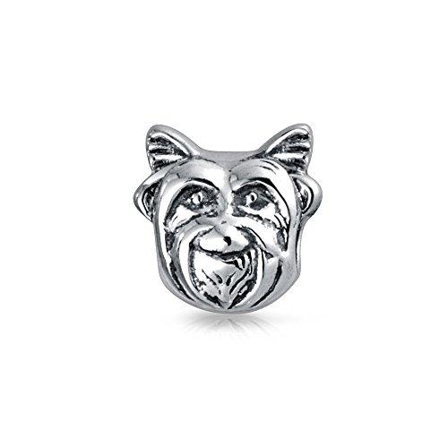 Yorkie Hund Gesicht Animal Charm Perle Silber (Yorkie-perle)