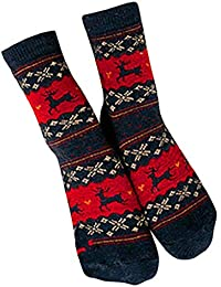 SHOBDW Mujeres Hombres Adultos Regalo de Navidad Vintage Lindo Elks de Navidad Copos de nieve Impresos Vintage Calcetines largos…
