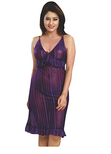 Indiatrendzs Womens Lingerie Set For Sex Transparent Purple Night Dress ,Pack Of 3
