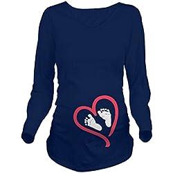 Q.KIM Witzige Umstandsmode Shirt langarm lustiges Umstands Shirt wächst mit dem Bauch Stretch Tshirt (S, Fuß,Blau)