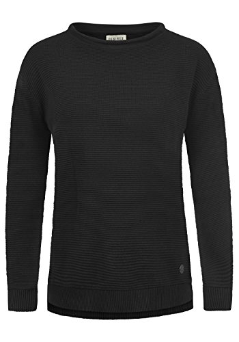 DESIRES Rolli Damen Winter Strickpullover Troyer Grobstrick Pullover, Größe:M, Farbe:Black (9000)