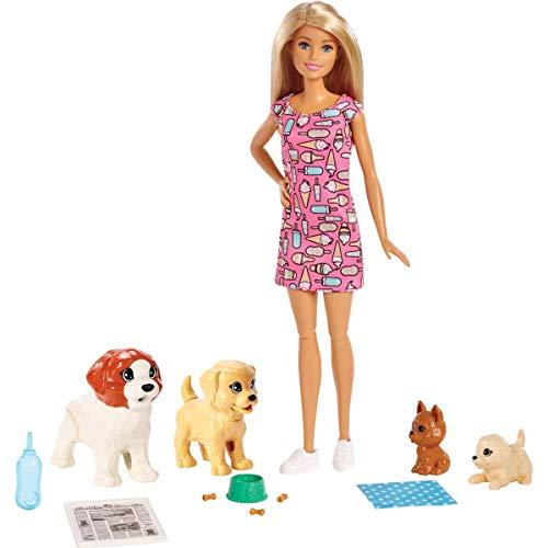 Barbie FXH08 - Hundesitterin Puppe und Welpen inkl. 4 Haustieren und Zubehör, Puppen Spielzeug und Puppenzubehör ab 3 ()