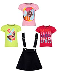 Gkidz Girls Pack of 3 Printed Cotton T-shirts with 1 Pack Stretchable Dungree Skirt (JG-GRAPHICCMB4_N_003DNGRE-BLK_Multicolor )
