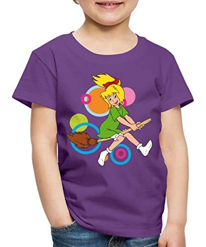 Spreadshirt Bibi Blocksberg Fliegt Auf Besen Kartoffelbrei Kinder Premium T-Shirt, 122/128 (6 Jahre), Lila (Kinder Hexe Besen)