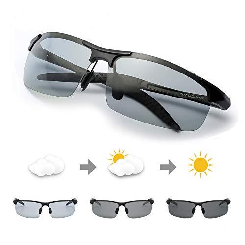 TJUTR Polarisierte Sonnenbrille Photochromatisch für Herren Sports 100{7f203e2f07deeaef83ba6cc0815772c0452dc35e18eac29370594f7d9123542a} UV 400 Schutz Metallrahmen Leicht für Autofahren (Schwarz(sport)/Grau)