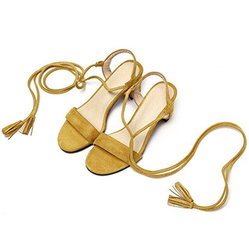 TAOFFEN Damen Klassischer Open Toe Schnurung Slingback Blockabsatz Sandalen Gelb