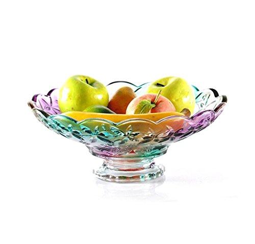 TKZS Obstteller Europäischen Wohnzimmer Glas hohe Obstteller kreative Mode große Moderne Couchtisch Candy Dish (Durchmesser 30 cm, Fuß Durchmesser 11 cm) Blue Glass Candy Dish