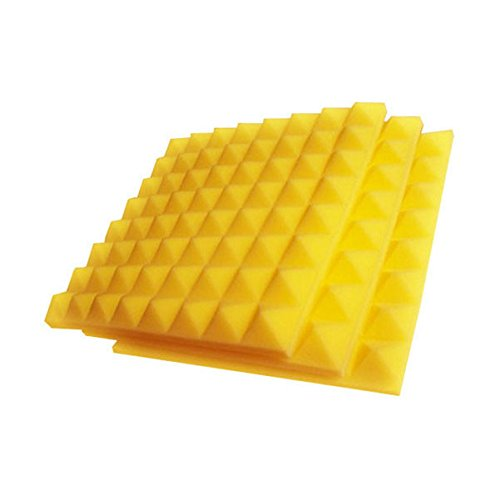 Aurica PYRAMID10X10X2YEL Pyramid Shaped Sound Proofing Acoustical Foam Panel, Set of 2