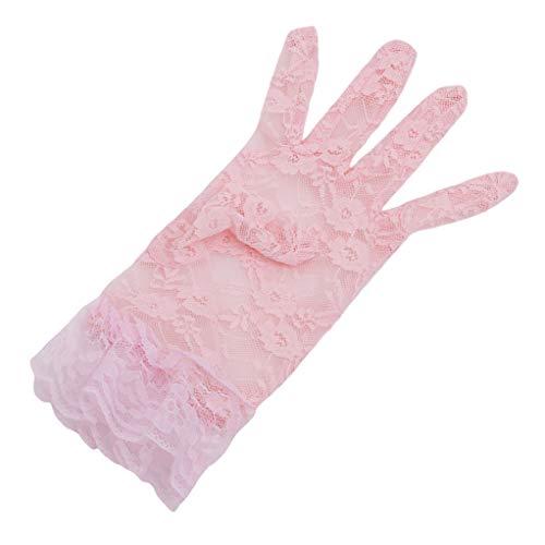 SEVENHOPE Spitzenhandschuhe für Frauen Handgelenk Länge Floral Handschuhe für Weddin Abend Party ()