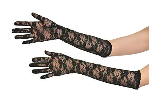 PICCOLI MONELLI Guanti lunghi donna eleganti ricamati pizzo trasparenti colore nero