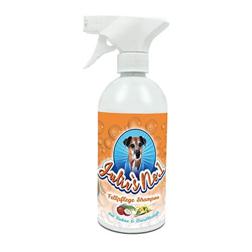 Hundeshampoo gegen Geruch - Hundeshampoo weißes Fell - Fellpflege Hund - Katzen Shampoo - Hundeshampoo Welpen - Julies No 1 - dezenter Kokos-Vanille-Duft - mit Schaumsprühpistole - 500 ml