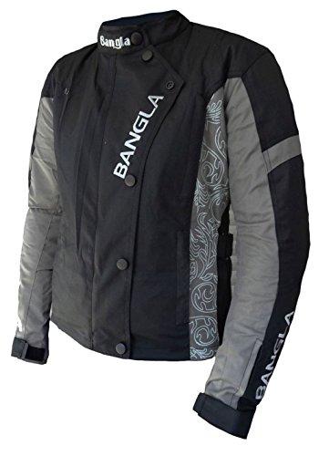 *1512 Damen Motorrad Jacke Textil CORDURA 600 mit Protektoren Schwarz-Grau mit Print M*