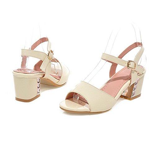 VogueZone009 Donna Tacco Medio Pelle Di Maiale Puro Fibbia Heeled-Sandals Albicocca