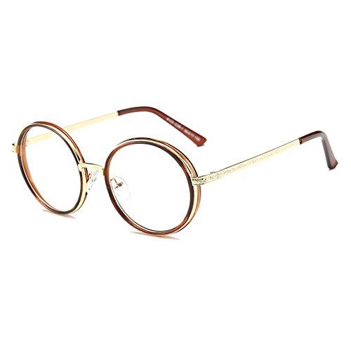 junkai Brille Rund Retro mit Fensterglas - Damen Herren Brillenfassung Metall Frame Transparente Linsen Brille für Lesen/Arbeiten/Unterhaltung