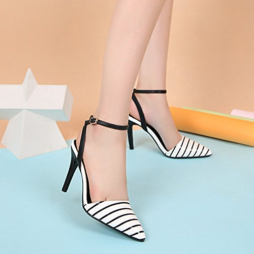 Oasap Women's Pointed Toe Ankle Strap High Heels Striped Pumps Black&white