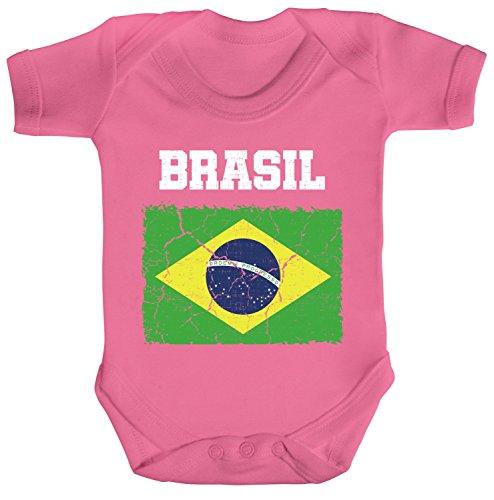 ShirtStreet Brazil Brasilien Fußball WM Fanfest Gruppen Fan Strampler Bio Baumwoll Baby Body kurzarm Jungen Mädchen Wappen Brasil, Größe: 3-6 Monate,Bubble Gum Pink