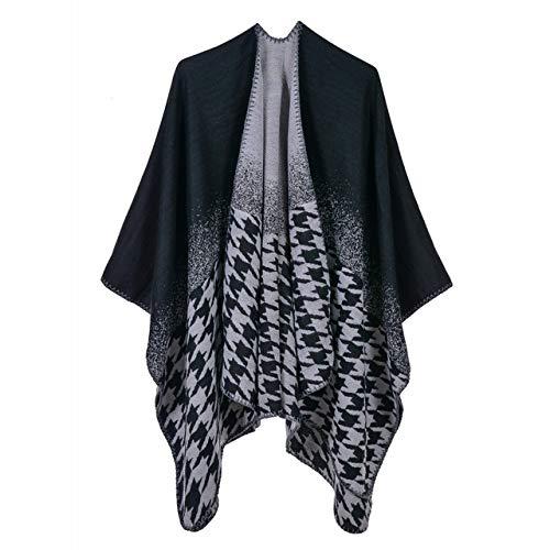 Hemiaodd mantelle e scialli a punta, sciarpa invernale coperta coperta da donna poncho in lana calda mantella poncho in lana, scialli da donna spessi a maglia lunga nero