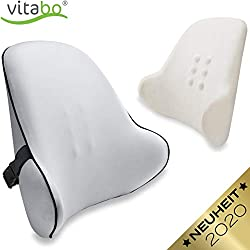 Vitabo Orthopädisches Rückenkissen - ergonomisches Lendenkissen I Lordosenstütze Rückenstütze für Büro Auto - Linderung von Rückenschmerzen (Grau)