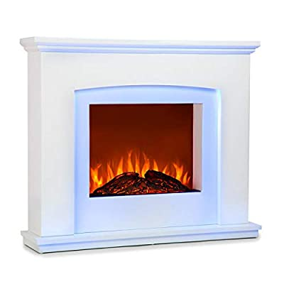 Klarstein Aosta Light & Fire Electric Fireplace with Flame Effect • Electric Fireplace • 1000 or 2000 Watts • Adaptive Start Control • Timer • MDF Enclosure • Thermostat • Remote Control • White