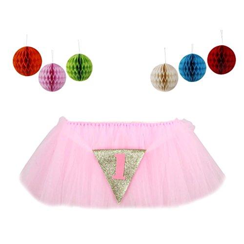 MagiDeal Baby Hochstuhl Tutu Rock Tischdecke/Tischdeko mit Tüll + Honeycomb für Babyfeiern Geburtstag - ()