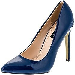 Damen Pumps High Heels in Lack Optik (40, #829bl Blau)