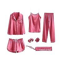 Women Pajama Sets 7pcs Hair Band and Hair Ties Short and Long Sets Sleepwear Ladies Size XL