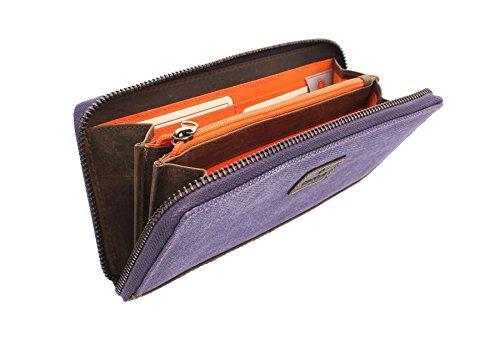 CACTUS Zip Intorno borsa tela con finiture in pelle e RFID Protezione 3320_81 Denim Purple