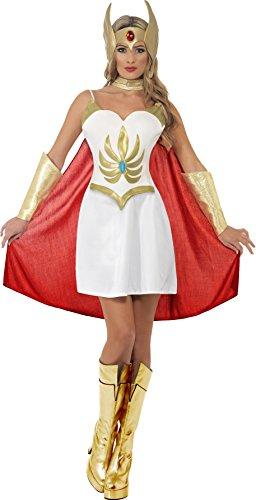 Kostüm Shera - She-Ra Deluxe Kostüm Weiß mit Kleid-Latex-Brustteil Armmanschetten Latex-Kopfteil und Umhang, Small
