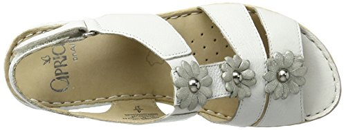 Caprice 28706, Sandales Bout Ouvert Femme Blanc (White Nappa)