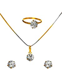 KAAYRA Jewellery Diamond And Gold Plated Combo Of Designer Solitaire Pendant Set With Chain, Earrings And Rings...