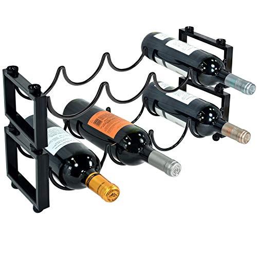 MyGift Weinregal, Metall, stapelbar, für 4 Flaschen, Schwarz, 2 Stück Casual schwarz -