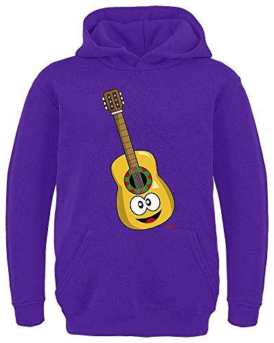 HARIZ Kinder Hoodie Gitarre Lachend Instrument Kind Lustig Inkl. Geschenk Karte Lila 128/7-8 Jahre (Bass Instrument Kostüm)